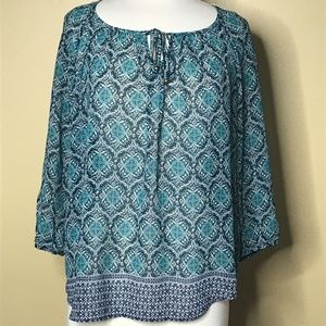 Maurices 3/4 sleeve Multi Color Sheer Lace Top